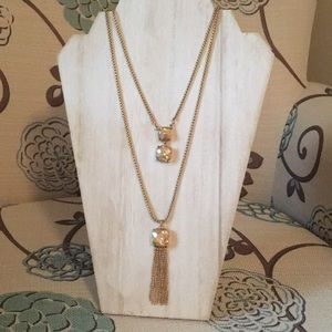 Double strand gold tassel necklace